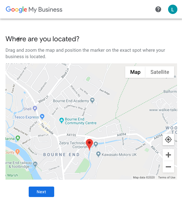 Google My Business Map location